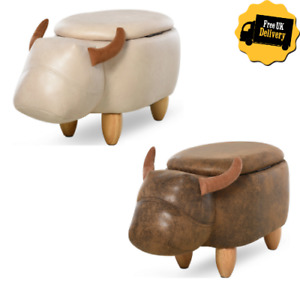 Cow Ottoman Storage Compartment Padded Seat/Lid Animal Decor Faux Leather Brown