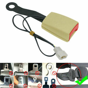 """Beige 7/8"""" Car Front Seat Belt Buckle Socket Plug Connector w/ Warning Cable New"""