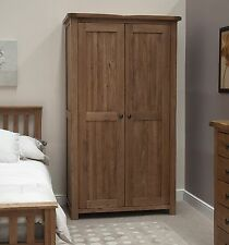 Tilson solid rustic oak bedroom furniture full hanging double wardrobe