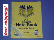Spirax 5 Subject Note Book A4 with Colour Pages 8 Lecture Note pockets No.596C
