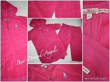 NWOT JUICY COUTURE Hot Pink Terry Tracksuit Hoodie Jacket Cropped Pants Girl 12