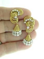 ESTATE  18K  TWISTED  CABLE  DIAMOND  DANGLE  EARRINGS