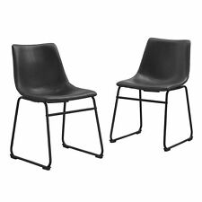 Walker Edison Black Faux Leather Dining Chairs - Set of 2