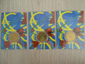 """LOT X3 PIECES!! 1/4 Euro 2002 Monnaie de Paris 1er pièce en euro """"Enfants"""""""