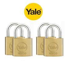 4 PACK YALE SECURITY, LUGGAGE SOLID BRASS PADLOCKS 20MM, KEYED ALIKE PADLOCKS