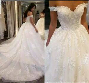 New White Ivory Off Shoulder Embroidery Lace A Line Wedding Dresses Size custom