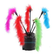 5PCS Cat Kitten Pet Teaser Turkey Feather Interactive Stick Toy Wire Chaser Wand