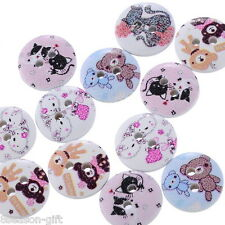 "100PCs Wood Sewing Buttons 2 Holes Animal Pattern Round Mixed  5/8""Dia.B24572"