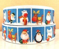 RUBAN GROS GRAIN ** 25 mm ** Carré motifs de Noël pingouin renne cadeaux /mètre