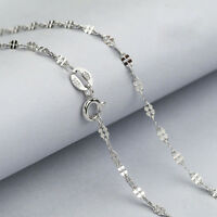 """Fashion Genuine Solid 925 Sterling Silver Curb Chain Necklace 16""""18"""" inch Clover"""
