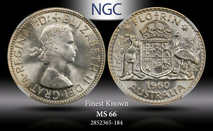 1960 AUSTRALIA SILVER FLORIN NGC MS66 FINEST KNOWN