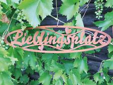 Schild LIEBLINGSPLATZ 50x10cm Edelrost Rost Gartendeko Wandhänger Türdekoration