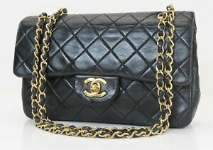 Auth CHANEL Double Flap Black Quilted Leather Gold Chain Shoulder Bag #40426