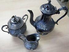 Silber Kaffeekanne+Zuckerdose+Milchkanne im SET versilbert-viktorianische Kunst