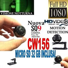 TELECAMERA SPIA MICROCAMERA FULLHD NASCOSTA NIGHT VISION MINI SQ9 +MICRO SD 32GB