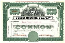 Goebel Brewing Company. SPECIMEN. Stock Certificate. Michigan