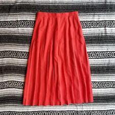 Vtg USA Made Unbranded Sz 10 Long Maxi Linen Blend Knife Pleat A-Line Skirt Pink