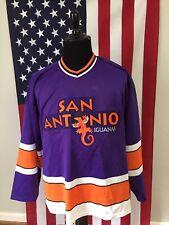 vtg San Antonio Iguanas Purple Bauer Hockey Jersey men's Large / Xl texas 1b590