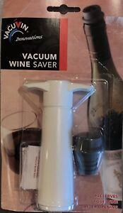 NEW VacuVin Wine Saver ~ White Vacuum Pump With Wine Stopper ~ NIB