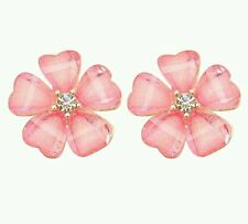 #1163 Fashion Women Petals Pink Flower Crystal Rhinestone Ear Stud Earrings