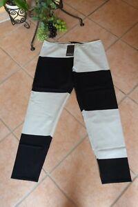 BORIS INDUSTRIES Leggings 2 Farben 48 50 NEU schwarz/wollweiß Blockmix LAGENLOOK