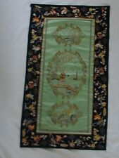 Antique Chinese Silk Embroidered Flowers Woodcutter Gold Thread Embroidery Panel