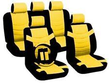 14PC Premium PU Black Yellow Car Front Rear Seat Covers Steering Wheel Set HS
