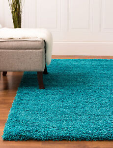 Super Area Rugs Contemporary Modern Plush Shag Solid Area Rug in Turquoise