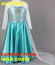 BOOK WEEK FROZEN Elsa Dress Up Costume comfortable stunning sparkle cape snowfl