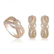 Set  Ring Ohrringe Zirkonia weiß 750er Gold 18 Karat vergoldet gelbgold S3058L