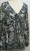 NWT Eci New York women's Large tunic v neck embellished black white pattern top