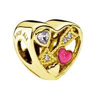 Genuine Pandora Struck by Love Silver Charm 14K Gold Plated 792039CZ