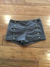 Juicy Couture Women's Brown Military Style Short Shorts Gold Toned Buttons Sz 2