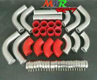 "2.5"" 64mm Aluminum Universal Intercooler Turbo Piping pipe Kit + RED hose"