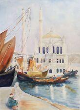 Grande aquarelle Marseille port bateau Provence