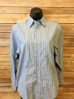 Ralph Lauren Long Sleeve Button Front Shirt Size 4 Womens Blue Striped Blouse