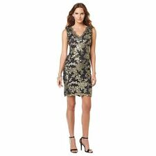 Colleen Lopez Sequin Lace Cocktail Holiday Event Dress Black Gold L 10