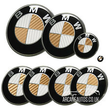 FOR BMW Carbon Fibre White & Gold Badge Decals Wrap Sticker ALL MODELS