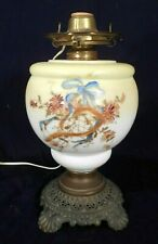 ANTIQUE VICTORIAN HAND PAINTED GLASS OIL LAMP ON A FANCY METAL BASE