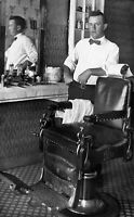 Barber Shop Chair Lotions Tools c1910s Shave Haircut Vintage Photo Reprint