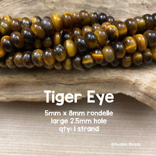 Tiger Eye - LARGE HOLE Beads - 5x8mm Rondelles - 8 Inch Strand - 2.5mm Hole