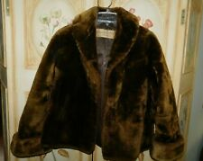 Vintage Brown Faux Fur Ladies Coat Jacket, CT Furriers New Britain, Medium