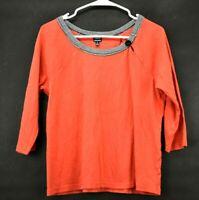Rafaella Womens Size Large Top Casual Long Sleeve Blouse Sweater Shirt Orange