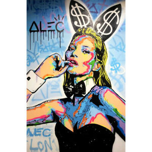 """Alec Monopoly """"Kate Moss Playboy ICON"""" Oil Painting on Canvas Art Decor Poster"""