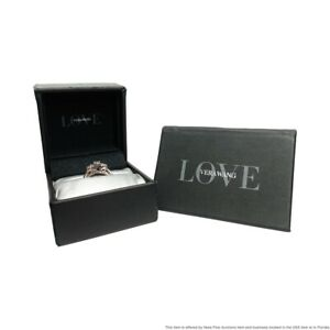 Vera Wang 14k White & Rose Gold Oval Diamond & Sapphire Engagement Ring w Papers