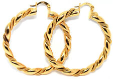 2 Pcs Twisted Creole Rope Ladies Yellow Gold Filled Hoop Leverback Earring