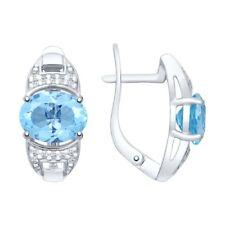 MIRKADA Damen 925 Silber Ohrringe mit Topas und Zirkonia, blau, NEU