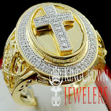 REAL GENUINE DIAMOND JESUS CROSS MENS PINKY RING BAND 10K YELLOW GOLD FINISH NEW