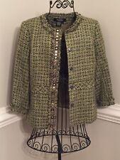 Peck & Peck Women's 8 Green Textured Plaid Frayed Trim Blazer Jacket 3/4 Sleeves