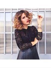 Zara Black Lace Midi vestito con gonna a pieghe taglia M, Uk10
